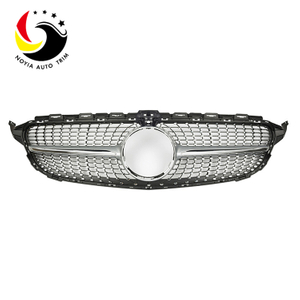 Benz C Class W205 AMG Style Diamonds 15-IN Silver Front Grille