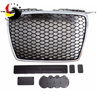 Audi A3 05-07 RS Style Pearl Nickel Frame Black Logo Front Grille (No Logo)