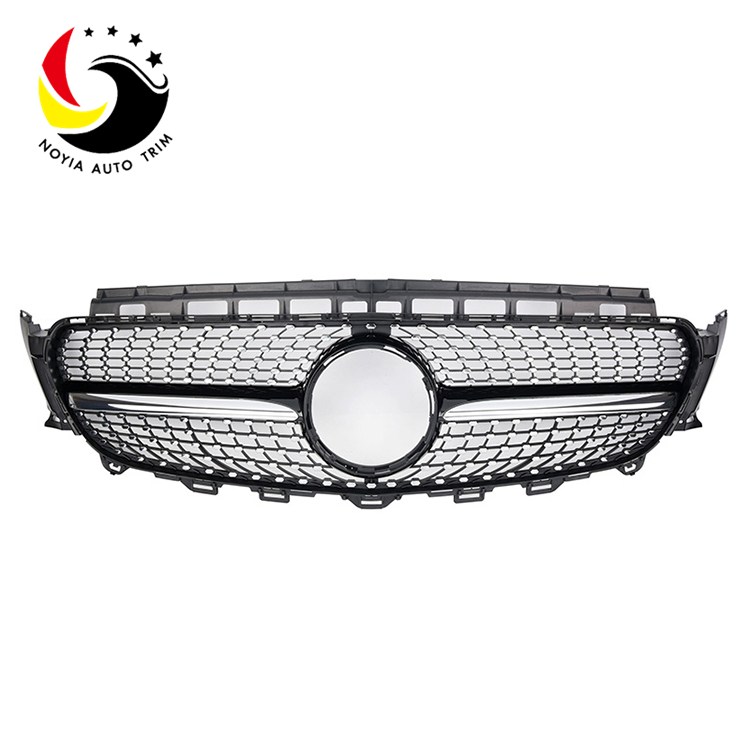 Benz E Class W213 Diamonds 16-IN Black Front Grille (Without Camera Hole)